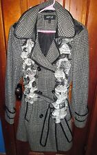 APT 9 Women's Size XL LONG  Coat Black & White PLAID + FREE CROCHETED SCARF
