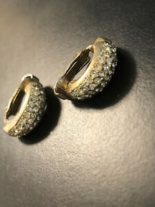 Vintage Signed Christian Dior Gold plated Crystal Pave Half-hoop Clip Earrings