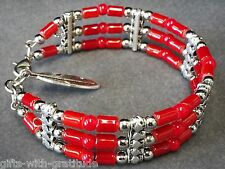 Tribal Bracelet Bangle Women's Gift Red Bead Silver Tone Feather 3 Strand 60mm