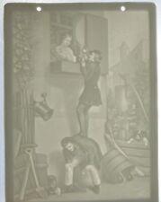 Lithophanie en porcelaine biscuit au scene romantique Allemagne 15,5x11,5 cm