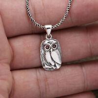 Solid 925 Sterling Thai Silver Pendant Lovely Owl Zircon Inlay Men's Women's