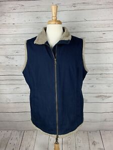 Duluth Trading Co. Navy Blue Sherpa Lined Canvas Work Vest Mens L 100% Cotton