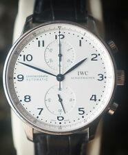 IWC Portuguese Automatic Chronograph Wrist Watch With Box And Papers, Beautiful!