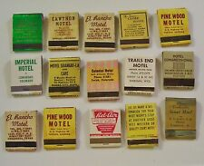 VINTAGE MOTEL AND HOTEL ADVERTISING MATCHBOOKS FAIR CONDITION LOT OF 15