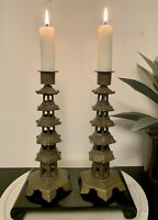 """Vintage Pair Of Brass Asian Candle Holders Pagoda 5 Tiered Rare Chinese Decor 8"""""""