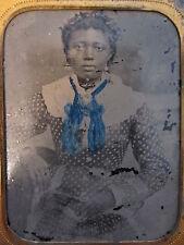ANTIQUE RECONSTRUCTION ERA AFRICAN AMERICAN GIRL WHITE BLUE SC GA? TINTYPE PHOTO