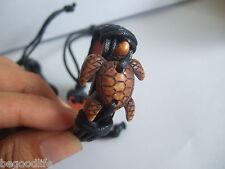 Ethnic Tribal Surfer Sea Turtle Charm Leather Bracelet
