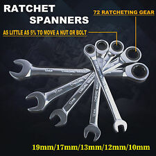 10-19mm Ratchet Spanners Metric 5pc Set Chrome Vanadium Steel 72 Geared wrench