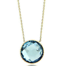 14k oro giallo design GEMMA SOLITARIO collana con una blu topazio 40.6cm