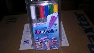 Marvy Uchida DecoColor Paint Marker Set Ex Fine Point 1234-6 Deco Color Oil Base