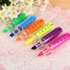 6pcs Syringe Needle Tube Highlighter Marker Pen Writing Board Fluorescent Liner
