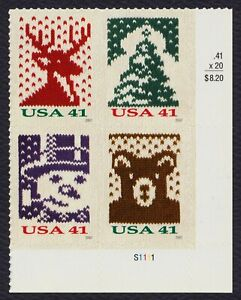 #4210b 41c Holiday Knits, Plate Block [S1111 LR] Mint **ANY 4=FREE SHIPPING**