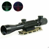 3-9x40 Tri-Rail Illuminated Mil-Dot Rifle Scope Ranger Finder Picatinny Rail