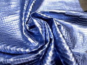 cowhide cow leather hide Metallic Periwinkle Purple Embossed Crocodile Pattern