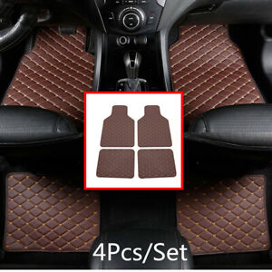 4x Coffee PU Leather Floor Mat Carpet Non-slip Protection Cushion For 5 Seat Car
