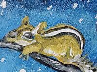 Winter Chipmunk ACEO 2.5x3.5 Miniature Art Print by Kimberly Helgeson Sams