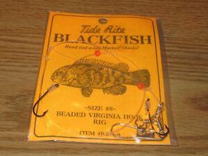 12 BLACKFISH TAUTOG FISHING RIGS TIDE RITE R451-8 BEADED VIRGINIA 2 HOOK RIG