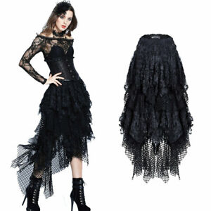 Punk Gothic Hexen Fransenrock aus Netz- und Fetzenstoff Black Steampunk Skirt