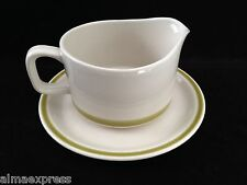 """GREEN BAND """"STONEWARE JAPAN"""" GRAVY BOAT w/ UNDERPLATE, Oven to Table Ready"""