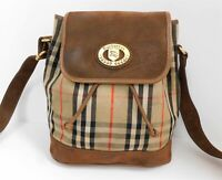 Burberry Haymarket Check Plaid Canvas Leather Bucket Drawstring Crossbody Bag