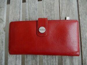 HOBO International RED Leather Credit Card Bill Coin Holder Slim Wallet
