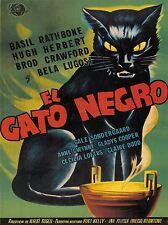 PRINT POSTER FILM ADVERTISEMENT BLACK CAT GATO NEGRO RATHBONE HERBERT NOFL0591