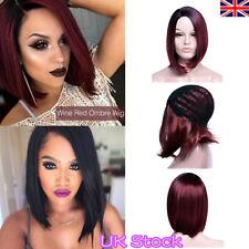 16'' Women Short Straight Bobo Full Wigs Brazilian Glueless Hair Side-parted UK