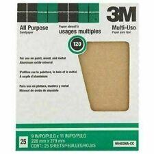 "3M 99403 Pro-Pak Paint & Rust Removal Sanding Sheet, 120 Grit, 9"" x 11"", 25-Pack"