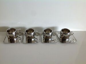 4 TRAMONTINA STAINLESS DOUBLE WALL INSULATED ESPRESSO/DEMITASSE CUPS, BRAZIL