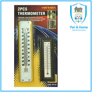 PACK OF 2 WALL THERMOMETER OFFICE HOME GARDEN INDOOR OUTDOOR CONSERVATORY GREENH