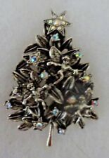 Signed GRAZIANO Christmas Tree Pin Brooch Angel Fairy Aurora Borealis Crystal ST