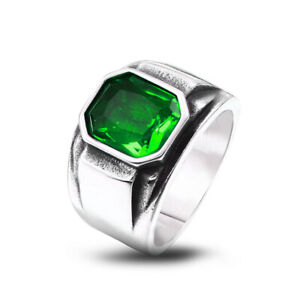 Green Stone Inlay Square Wedding Ring Stainless Steel Men's Vintage Band Rings