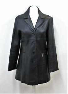 FIORELLI Ladies Black Leather Single Breasted Button Up Long Sleeve Jacket XL