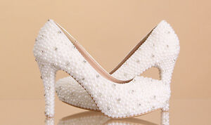 Handmade Pearls Wedding Prom Bride Bridesmaid Event shoes High Low Heels Flat