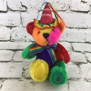 Vintage 90's First & Main Rainbow Happy Birthday Plush Teddy Stuffed Bear Flaw