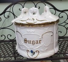 Vintage Ceramic Canister Set 3 Triangle make a Circle for Flour Sugar Coffee