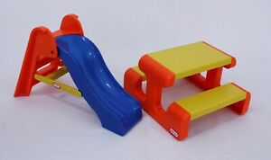 Vintage Little Tikes; Dollhouse; Playground Picnic Table & Slide  Accessories