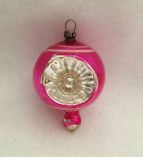 Vtg German Pink Double Indent Balloon Top Finial Mercury Glass Xmas Ornament