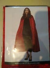 """Red velvet hooded cape 48"""" x 25"""" Halloween costume adult OSFM. 100% polyester."""