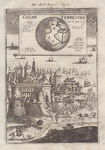 Globe Globus World Map Weltkarte carte engraving Kupferstich gravure Mallet 1719