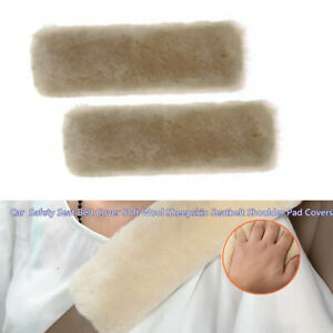 2xPearl Color Car Belts Covers Decoration Sheepskin Seatbelt Shoulder Pad Covers