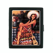 Sexy Senorita Pin Up Girl D6 Black Cigarette Case / Metal Wallet Classy Latina
