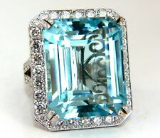 "GIA Certified 42.01ct Natural ""Blue"" Aquamarine diamonds ring Vivid 18kt Freedom"