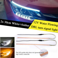 2x 30cm Car LED Headlight Light Strip Running Light Flowing Turn Signal Fog Lamp