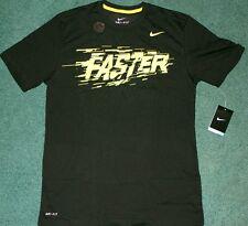 Nwt Mens Nike M Black/Neon Yellow Faster Dri-Fit Shirt Medium