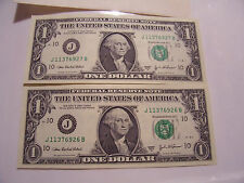 CONSECUTIVE SERIAL NUMBERS 2003A 2 ONE DOLLAR FEDERAL RESERVE NOTES J11376926-7B