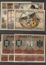 Saalfeld Notgeld: 1155.5 Fünf Notgeldscheine der Stadt Saalfeld bankfrisch 1921