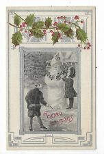 MERRY CHRISTMAS Postcard Children with a Snowman Santa Illustrated Post Card Co
