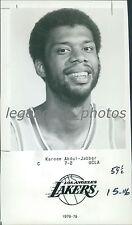 1982 Kareem Abdul-Jabbar Los Angeles Lakers Portrait Original News Service Photo