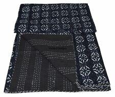 Black Queen Size Cutwork Kantha Quilt Unique Applique Hand Embroidered Kantha